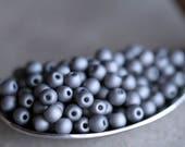 4mm Matte Pewter Druk Glass Beads, Czech Glass Beads, Glass Round Beads (150pcs) NEW