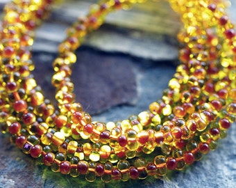 2x4mm Topaz Farfalle Seed Beads, Preciosa seed beads, Czech glass seed beads, Peanut seed beads, Sunny Topaz & Rust lined (50g)