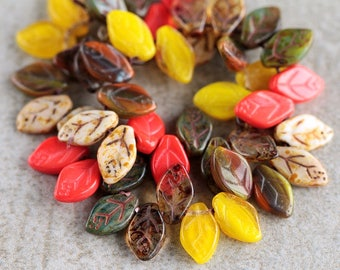 Autumn Red/Yellow Glass Leaf Bead Mix, Czech Glass Beads, Czech glass leaf beads,12X7mm (36pcs)