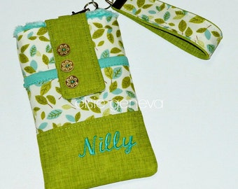 Personalized Phone Case Wristlet Chartreuse Green Aqua Leaves Personalized Optional Shoulder Strap iPhone 6S 6Plus Samsung Note