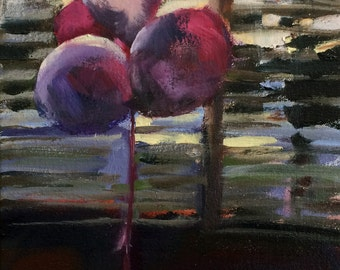 Pink Birthday Balloons Original Oil Painting by Angela Moulton 9 x 12 inch on Canvas
