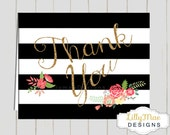 Black Stripes with Gold Glitter Thank you Cards, Baby Shower Thank you Cards, Black and Gold, Digital, Printable Thank you cards