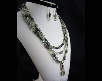 Tourmalinated Quartz, Prasiolite, 925 Sterling Silver, Multi Strand Necklace, Dangle Drop Earrings, Two Piece Set, Gemstone, Green Amethyst