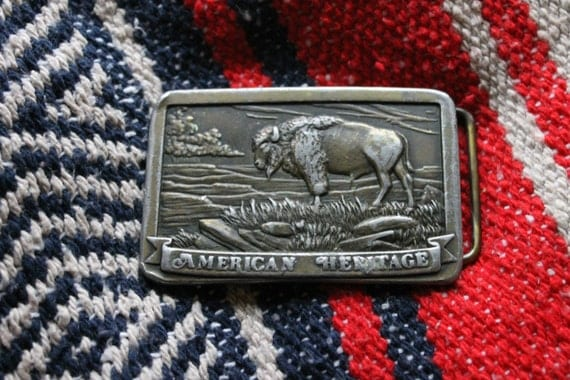 vintage American Heritage buffalo belt buckle, made in USA, brass
