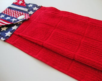 PATRIOTIC Hanging Kitchen Dish Towel - Button Top Towel - Independence Day - 4th of July Decor - Stars and Stripes Towel