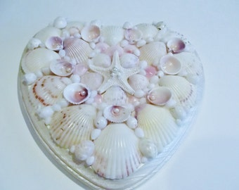 Seashell Heart, Starfish, Rose Cockles, Seashell Wall Decor, Coastal Decor