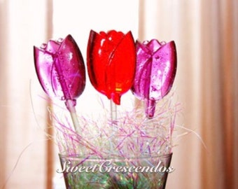 TULIPS AND IRIS Lollipops- Hard Candy Lollipops- Bridal Shower and Wedding Lollipops- Garden Party Favors