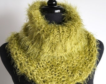 Olive Light Khaki Yellow Green Color Silky Soft Fuzzy Women Knitted Cowl Collar Gaiter Turtleneck