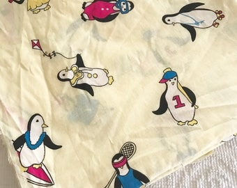 Vintage Cotton Fabric Penguins on Yellow Animals Childrens Sports