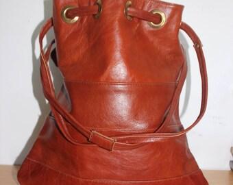 "Large Raw Leather Drawstring Bag - Vintage 16T x 14.5W"" - Market Bag Tote Travel Festival"