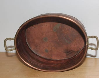 """Copper Pot with Brass Handles - Vintage Planter or Organizer or Decor 8 x 6 x 3.5"""""""