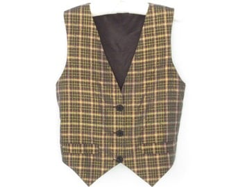 Madras Vest * Metallic Gold Plaid Waistcoat * 80s Vest * Medium
