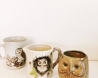 Set of three vintage  owl inspired ceramic mugs