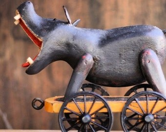 The Hippo - hippopotamus, zoo, circus, primitive, toy, pulltoy, folk, folkart, farmhouse