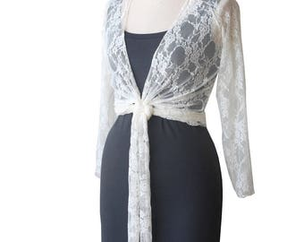 SALE Lace Bolero, Off white shrug, Ivory lace wrap top, Lace top with ruffled edges, Long sleeve lace top, Womens Shrugs & Boleros, Size L