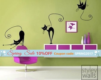 Cats Wall Decal, Set of 3 Naughty Cats Vinyl Wall Decal, Home Decor Wall Decal, Office Wall Decal, Cats Sticker, Cats Decoration Decal