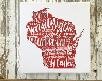 University of Wisconsin - Badger - UW Madison Badgers - Hand Lettered Canvas Art Print - Modern Calligraphy -