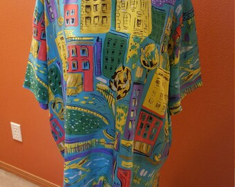 Vintage Mulitcoloured Silk Blouse by Diane Gilman with Building Print
