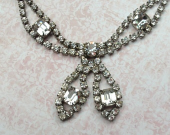 Vintage Rhinestone Necklace, Choker, Tear Drop, Jewelry Gift for Her, Silver Tone Metal