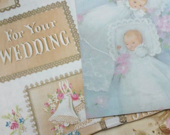 Vintage Gift Wrap, Wedding, Baby, Angels Mixed Lot, 20 Folded Designs, Ephemera, Gift for Her, Scrapbooking, Journaling, Upcycle