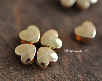 10pcs Gold plated Brass Heart Beads 6mm (GB-015)
