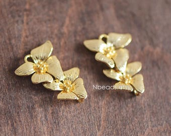 6pcs Gold plated Brass Flower Charm Pendant Connectors 24mm, Lead Nickel Free (GB-066)