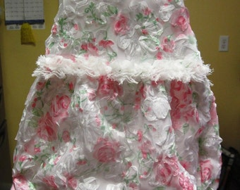 Dressy shabby chic rosette and lace bubble romper for baby girls, vintage style romper, lined romper, photo prop romper