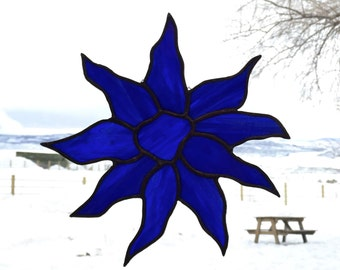 Royal Blue Stained Glass Suncatcher - Sunflower - Handmade Glass Decor - Artglass