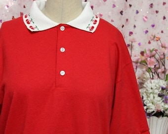 SALE Kawaii Decorative Heart or Cherry Collar Polo NO PATCH - Pink and Red Custom Made