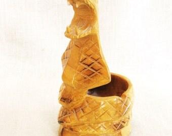 Snake, Wood Carvings, Ashtray, Carved, Desk Cup, Wooden, Folk Art, Cobra, Serpentine, Carved Snakes, Dresser Tray, Serpent, Handmade, Bowl