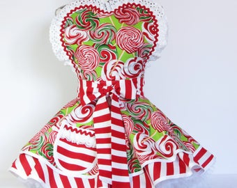 NEW Ready to Ship Retro Lollipop Stripes Apron by Dotties Diner Red and Green
