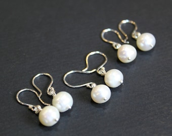 Bridesmaid Gift, 3 pairs of Pearl Sterling Silver Handmade Minimalist Earrings