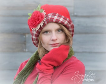 Red Wool Cloche Hat Holiday, Christmas, Slouchy Bucket Hat