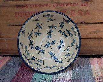 Blue dragonfly handmade pottery bowl - ceramic bowl - cereal bowl - pottery serving bowl - medium serving bowl - kitchen bowl - bdf0104