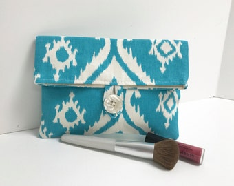 Turquoise Foldover Makeup Bag with Button, Bridesmaid Clutch
