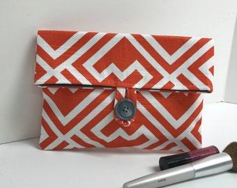 Orange Makeup Bag, Cosmetic Bag