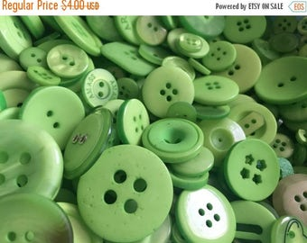 "SALE 100 Mixed Buttons,  ""Spring Green"" Shades, Green Button Assortment, 2 Hole 4 Hole Sew Through Assorted Sizes and Styles"