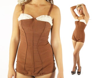 Vintage 50s Catalina Bathing Suit Swimwear Pinup Rockabilly One Piece 1950s Medium M Brown White