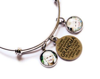 Grandma Bracelet / Grandma Gift / Photo Charm Bracelet / Photo Bracelet / Custom Photo Bracelet / Grandma Jewelry