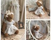 Isabella a tiny artist bunny artist teddy bear viscose mohair bunny handmade by Olive Grove Primitives