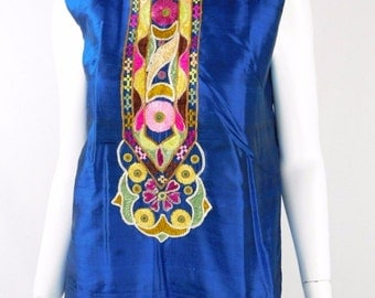 Malabar Bombay Silk Embroidered Vintage Blue Top - Size L
