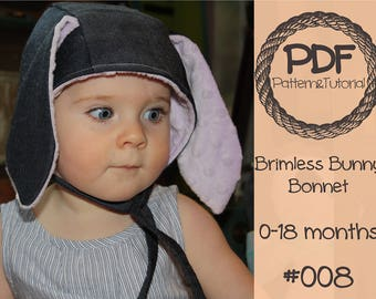 Brimless Bunny Bonnet Sewing Pattern // Baby Bonnet Pattern // Reversible Bonnet // Modern Bonnet // easter bonnet / Hearing Aid Hat
