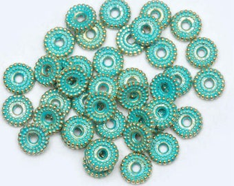 10 Donut-Shaped Vintage Gold and Green Spacer Beads 6mm