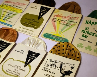 Lot of 7 Vintage Dry Cleaners Promotional Pocket Handkerchiefs