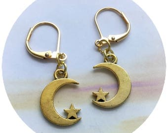 Gold Crescent Moon earrings, crescent moon and star