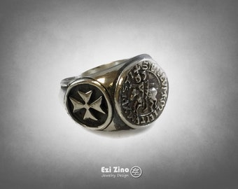 The Seal Of KNIGHTS TEMPLAR solid sterling silver 925 ring in size available