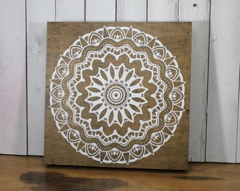 Mandala Sign/Wood/Geometric/Namaste/Moroccan/Yoga/Wall Decor/Home Decor