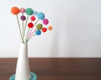 Multi-colored Pom pom flower bouquet - Rainbow pompoms - Vintage Wool felt balls - Bright Floral - Felted flowers - Dandelions Craspedia