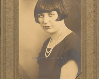 Flapper Chick Pearl Necklace Bobbed Hair Serious Pout Antique Photograph