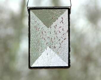 Pressed flower suncatcher ornament, stained glass with real dried flowers, gardener gift under 30, wildflowers